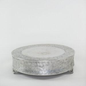 Round Silver Cake Stand Rental