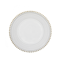 Clear Gold Beaded Charger Plate